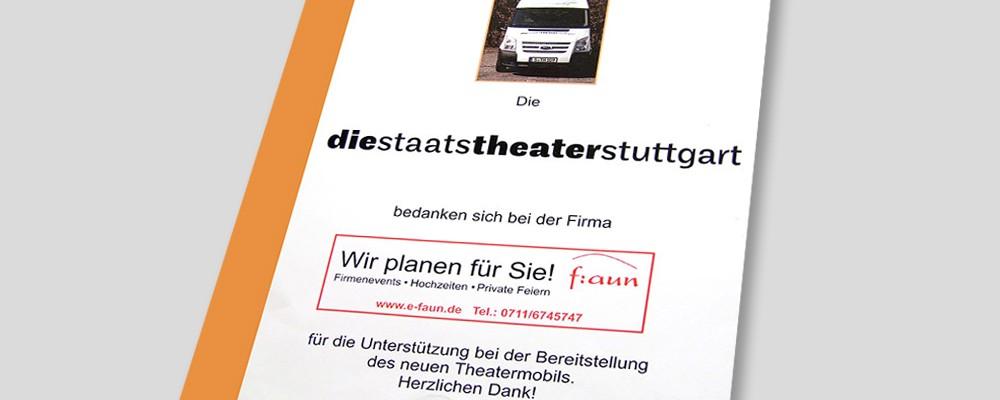 Urkunde Mitfinanzierung Theatermobil Staatstheater Stuttgart